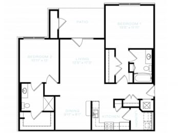 Two Bedroom   Two Bathroom Floor Plan at The Standard at Whitehouse, Tennessee