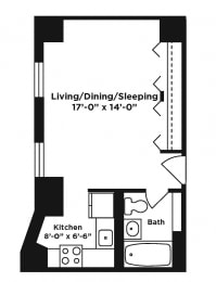 Studio/Efficiency apartment at Webster Hall in Pittsburgh, PA