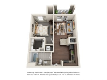 One Bedroom | One Bathroom | Serendipity Floor Plan at The Gentry at Hurstbourne, Louisville