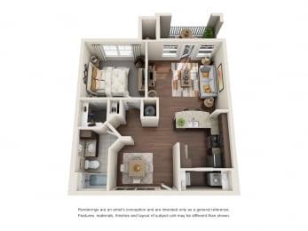 One Bedroom | One Bathroom | Syrah Floor Plan at The Gentry at Hurstbourne, Louisville, Kentucky