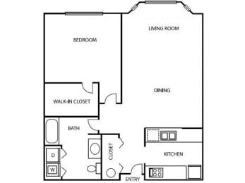 1 Bedroom 1 Bathroom A2 Floorplan at Axcess 15 Apartments, Portland, 97232