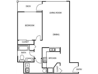 1 Bedroom 1 Bathroom A3 Floorplan at Axcess 15 Apartments, Portland, Oregon