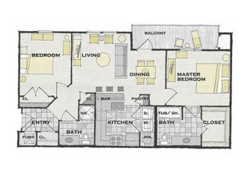 2 bed 2 bath FloorPlan at Apartments at Grand Prairie, Peoria, IL, 61615