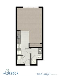 Studio A FloorPlan at The Corydon, Seattle, WA, 98105