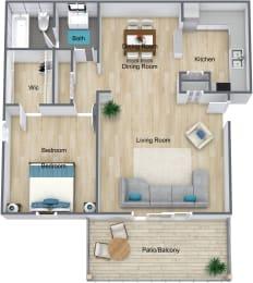 Floor Plan 1 Bedroom 1 Bathroom
