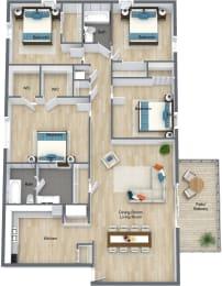 Floor Plan 4 Bedroom 2 Bathroom