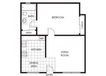 One Bedroom One Bathroom Layout B Floor Plan at Marina Crescent Apartments, Marina, California