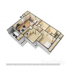 2 Bedroom, 1.5 Bath Floor Plan at Creekside Square, Indianapolis, 46254