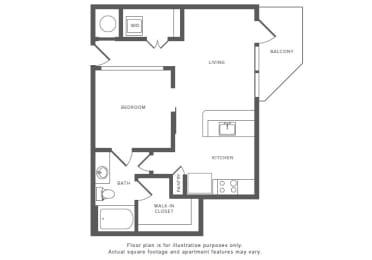 Floor Plan  1 Bed 1 Bath A3 Floor Plan at Windsor by the Galleria, Dallas, Texas