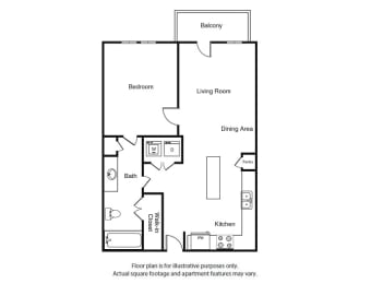 One Bed One Bath A1 Floor Plan  at Windsor West Lemmon, Dallas, Texas