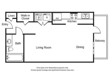 Floor Plan  0 Bed 1 Bath Studio S2 Floor Plan at Windsor West Lemmon, Dallas