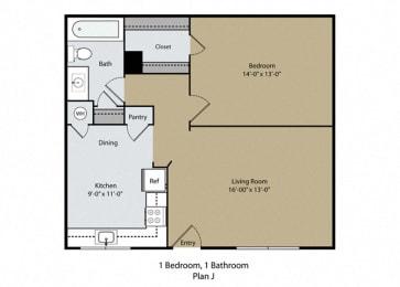 1 Bed 1 Bath Floor Plan at Barcelona Apartments, Visalia, 93277