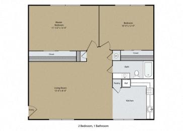 2 Bedroom 1 Bath Floor Plan at Casa Del Rio Apartments, California, 93710