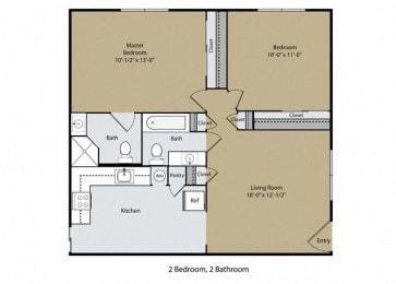 2 Bedroom 2 Bath Floor Plan at Casa Del Rio Apartments, Fresno, CA, 93710