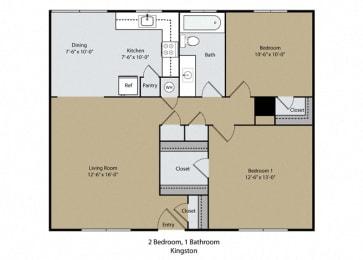 Kingston Floor Plan at Scottsmen Apartments, Clovis, CA