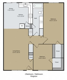 Kingston Floor Plan at Scottsmen Too Apartments, California, 93612