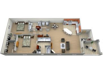 Palacio Floor Plan at Villa Faria Apartments, California