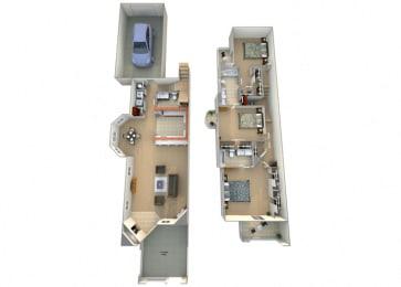 3 Bed 2.5 Bath Tesoro Floorplan at Dominion Courtyard Villas, California