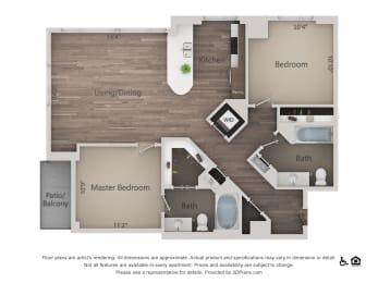 2Bed 2Bath 2A Floorplan at Northshore Austin, Austin, TX