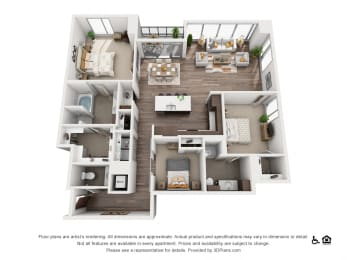 3 Bed 2.5 Bath 3A Floor Plan at Northshore Austin, Texas, 78701