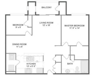 B1 Floor Plan at The MilTon Luxury Apartments, Illinois, 60061