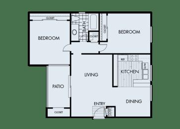 2 Bed 1 Bath 2A Floor Plan at Corte Bella, Fountain Valley