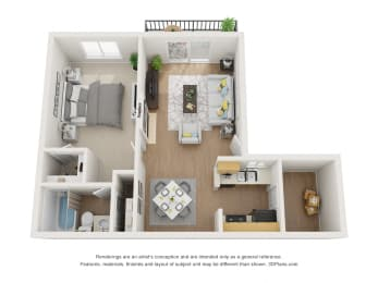 One Bedroom 3D Floor Plan Layout at Pacific Trails Luxury Apartment Homes, Covina, California