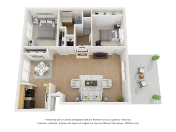 Two Bedroom 3D Floor Plan Layout at Pacific Trails Luxury Apartment Homes, Covina