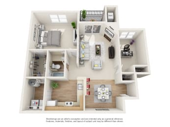 Bayberry  2 bed 1 bath Floor Plan at Owings Park Apartments, Owings Mills, 21117