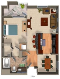 1 Bed - 1 Bath A2 Floor Plan at Carillon Apartment Homes, Woodland Hills