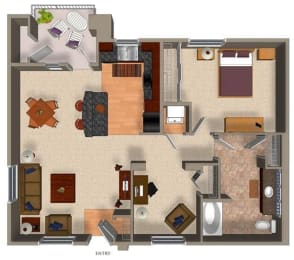 1 Bed - 1 Bath A3 Floor Plan at Carillon Apartment Homes, California