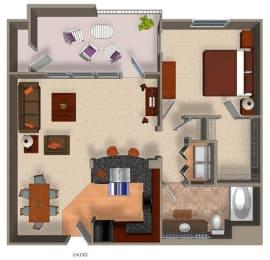 1 Bed - 1 Bath A5 Floor Plan at Carillon Apartment Homes, Woodland Hills, CA, 91367