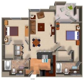 2 Bed - 2 Bath B1 Floor Plan at Carillon Apartment Homes, Woodland Hills, 91367