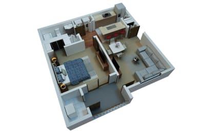 1 Bedroom 1 Bathroom Floor Plan at Berkshire Stewards Crossing, Lawrenceville, 08648