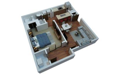 1 Bed 1 Bath Floor Plan at Berkshire Stewards Crossing, Lawrenceville, New Jersey