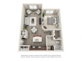 A2 Unit 1BR Floor Plan for Vintage Blackman Apartments in Murfeesboro, Tennessee