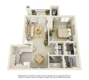 A1 – 1 Bedroom 1 Bath Floor Plan Layout – 750 Square Feet