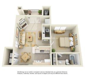 A3 – 1 Bedroom 1 Bath Floor Plan Layout – 775 Square Feet
