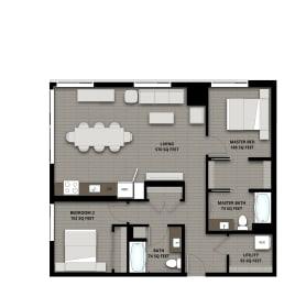 Floor Plan 2Bed 2Bath 1078sf