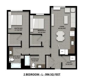 Floor Plan 2Bed 2Bath 996sf
