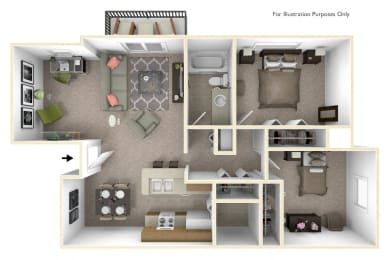 2-Bed/1-Bath, Daffodil Deluxe Floorplan at Bristol Squareat Bristol Square and Golden Gate Apartments, Michigan, 48393
