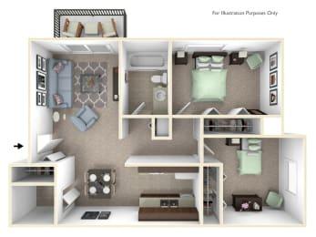 2-Bed/1-Bath, Dahlia Floorplan at Golden Gate at Bristol Square and Golden Gate Apartments, Wixom, MI