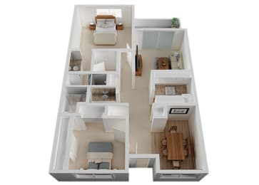 Two Bed Two Bath Floor Plan at The Glens, San Jose
