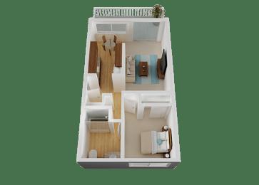 1 Bedroom 1 Bathroom Floor Plan at Valley West, San Jose