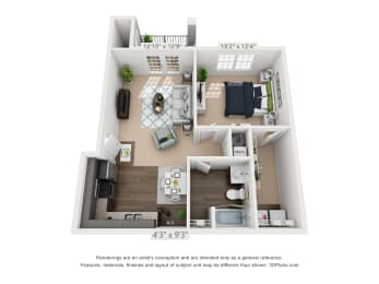 Ardmore at Alcove One Bedroom, One Bathroom Floor Plan