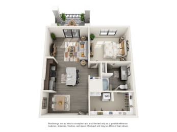 Floor Plan 1 Bed 1 Bath (A2 Cahaba)