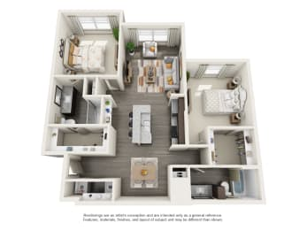 Floor Plan 2 Bed 2 Bath (B1 Vestavia)