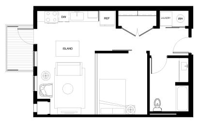 Luxury One Bedroom Apartment Floor Plan A2, Des Plaines IL, 60016-Ellison Apartments with Balcony
