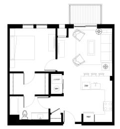 Luxury One Bedroom Apartment Floor Plan B1, Des Plaines IL, 60016-Ellison Apartments with Balcony
