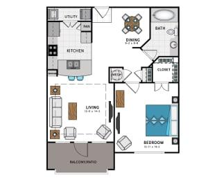 1 Bed 1 Bath A2 Floor Plan at Westside Heights, Atlanta, 30318